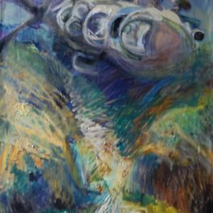 "Серия ""Гиндукуш"". За речкой (2010, холст, масло, 97 x 77 см)"