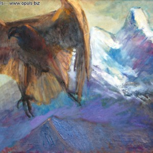Над сонной горой (2014, холст, масло, 50 x 70 см)