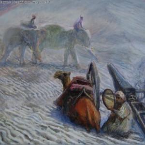 Великий шелковый путь. Караван. (2004, холст, масло, 57 x 61 см)